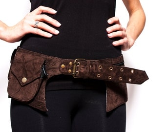 Goa Belt - Hip Handmade Suede Waist Pack Bag Party Festival Style Belt Utility Pouch Playa psy trance rave