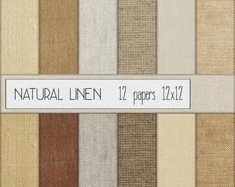 "Natural Linen Digital Scrapbook Paper Set of 12 - Instant Download - 12""x12"", Earth tone, Cardmaking, Scrapbooking"