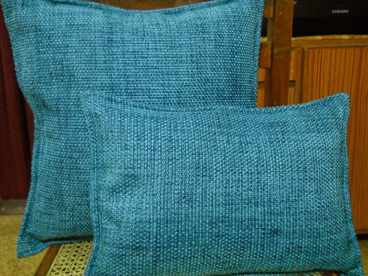 Decorative Blue Lumbar Pillow Cover 12x16 Indian by KnotnStitch