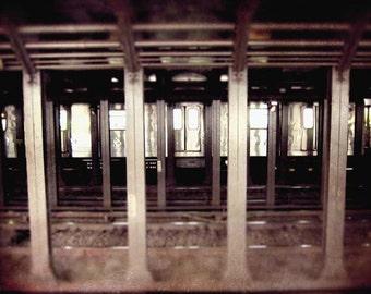 New York City Photography, New York City Subway, subway photo, travel photography, urban decor, bronze, sepia, NYC photography, home decor