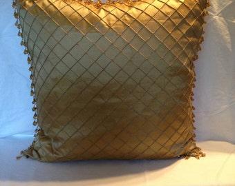 Deep Gold Beaded Chriss Cross Pillow Cover