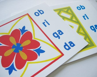 Set of 6 Portuguese Thank You Obrigada Screen Printed Note Cards