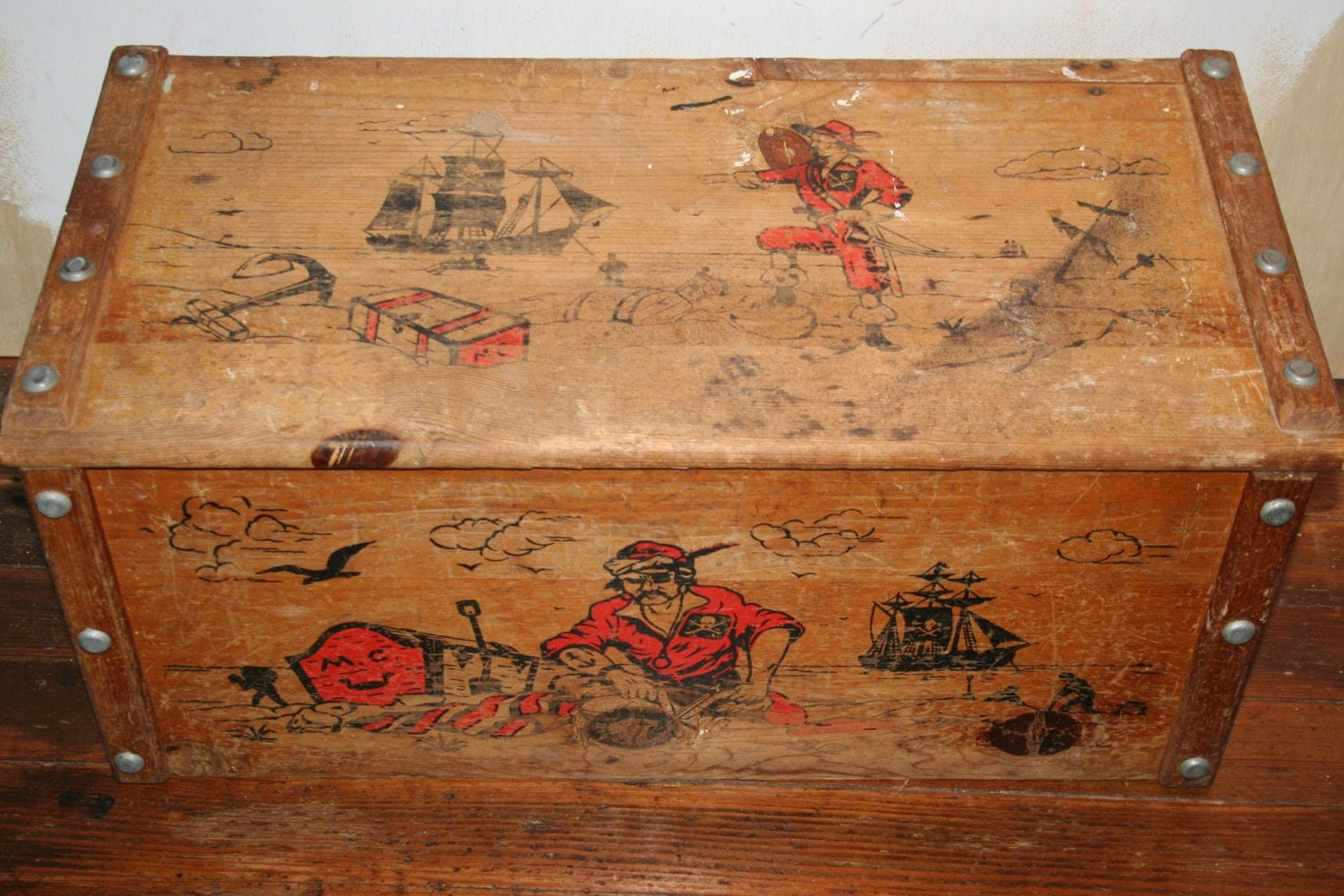 Modern craft collectible wooden toy chest with pirates for Mid century modern toy box