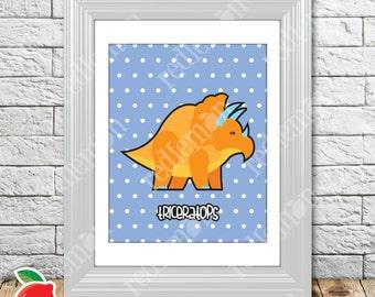 Cute Lil' Dino Triceratops Dinosaur Nursery Print
