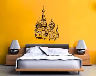 Indian Style Buildings Skyline Vinyl Wall Decal  Wall Art Sticker Room Decor