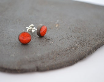 Ceramic stud earrings. Red stud earrings. Sterling silver post.
