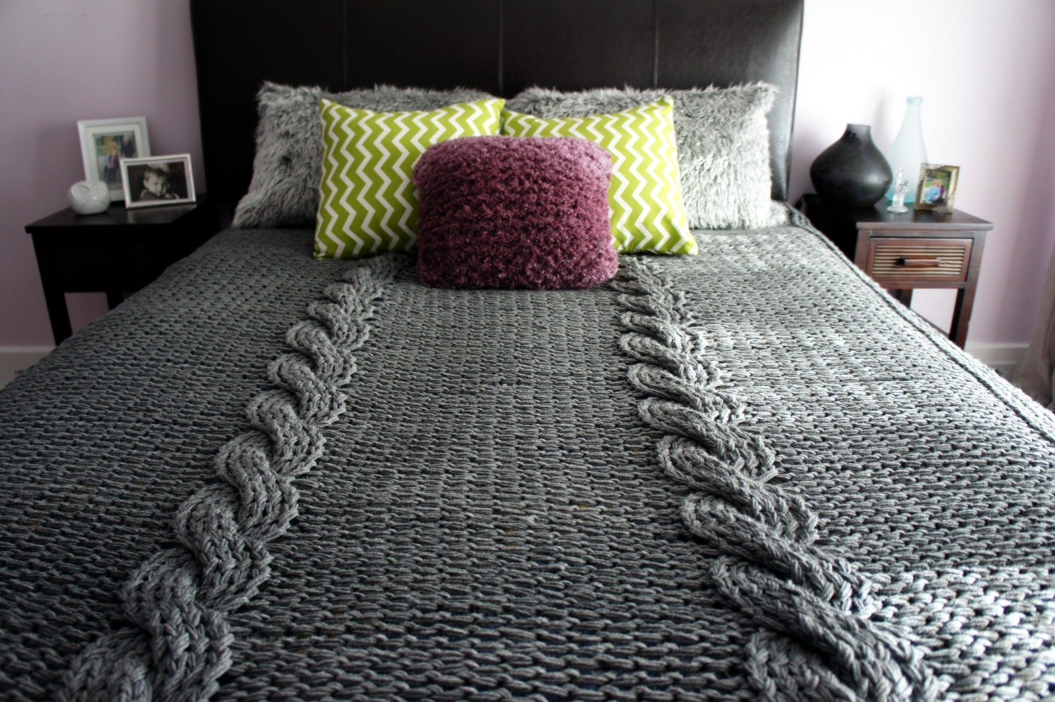 Knitting Patterns For Bed Throws : Knit Throw Knit Blanket Cable Blanket Bed Cover Home