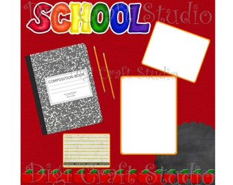 School Digital Scrapbook Quick Pages 12 x 12 png and jpg format.