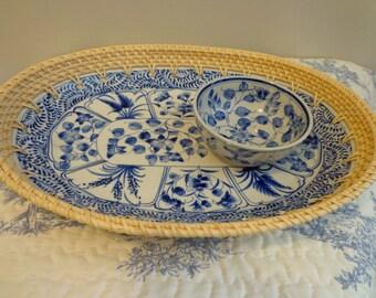 Blue White Ceramic and Basket Platter, Blue White Pottery, Natural Reed Basket Weave Border, Chip and Dip Tray, Art Deco Design Platter