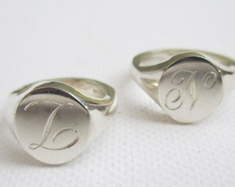 Sterling Silver Signet Ring Hallmarked Heavy Weight with engraved initial