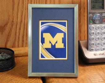Michigan Wolverines 4x6 Authentic Playing Card Desk Display FRAMED NF1302