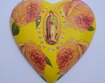 Our Lady Of Guadalupe yellow ceramic heart