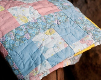 Vintage Bunnies, Cats, and Ducks Baby Quilt in Blue, Pink, and Yellow
