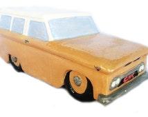 Handmade GMC Ceramic Station Wagon Car Mid Century Modern Figurine