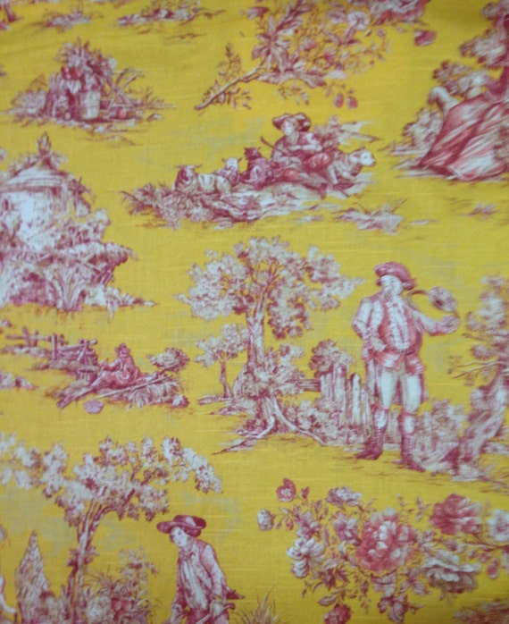 yellow pink and white toile toile fabric by the yard. Black Bedroom Furniture Sets. Home Design Ideas