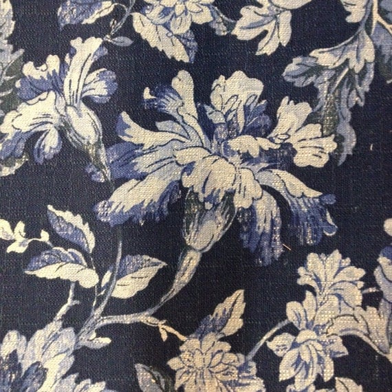 French Country Blues Floral Fabric Upholstery Fabric By