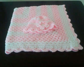 Crochet Baby Blanket and Hat in Soft Pink and White