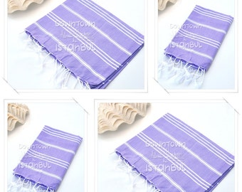 KITCHEN TOWEL SET of 4 Peshkir Hand Towel Hair Towel Tea Towel Head Towel Face Towel Dish Towel Guest Towel Bathroom Towel Gift Towel Lilac