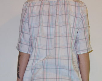 ON SALE! Vintage 1980s paper thin preppy elbow-length sleeve supersoft white and plaid top XS-M 1980s Mervyn's For Her