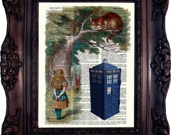 Alice in Wonderland. Tardis. Dr Who. Vintage Dictionary art print. Art Print. Book Art print. Dictionary print. Tardis. Dr Who.Code:020