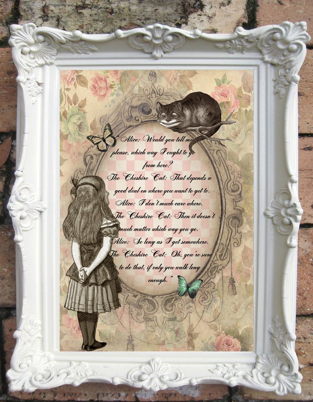 Alice in wonderland decor shabby chic decor vintage alice for Shabby chic wall art