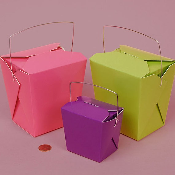 Party favor chinese take out boxes : Items similar to colored paper wire handle party favor