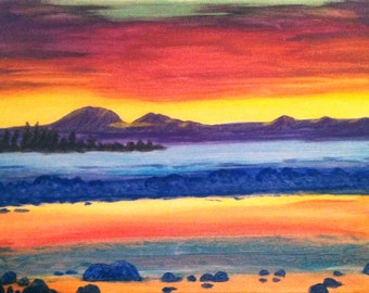 Lake Taupo sunset New Zealand print