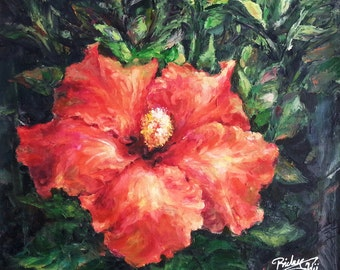 "Floral Still Life, Tropical Flower Oil Painting ""Hibiscus"""
