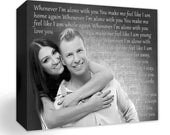 Photo , Personalized Wedding Photo on Canvas,  black and white, Lyrics, Songs, Vows, Quotes...any Text and Ideas. Wall Decor for Newlyweds.