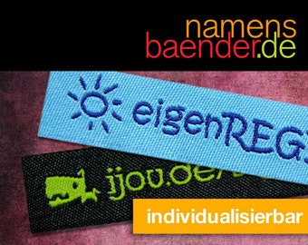 50 custom woven labels, fabric labels, labels with motif and your text, woven