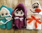 Frozen Elsa, Anna or Olaf hooded towel