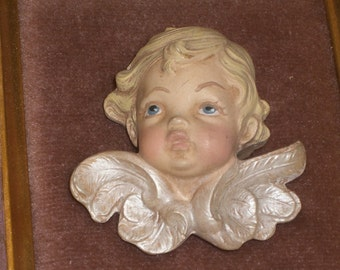 Picture -  Cherub Picture - Dimensional - Framed - Vintage