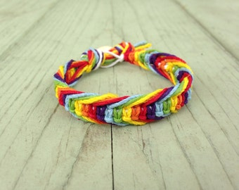 Rainbow Fishbone Hemp Bracelet
