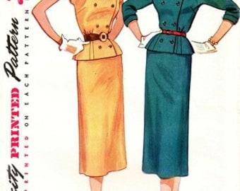 Simplicity 4221 La De Da Swanky Two-Piece Suit Dress / ca. 1953 / SZ12 UNCUT