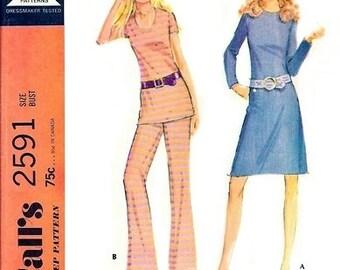 McCall's 2591 Figure Hugging Dress or Top & Pants 1970 / SZ14 UNCUT