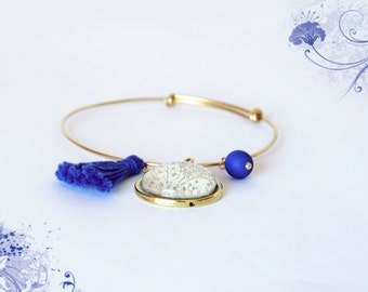 """Bracelet hand illustrated with an engraving: """"Blue Ocean"""""""