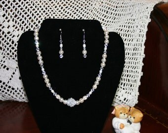 Pearls, freshwater & Swarovski Crystal along with a Ball of Crystals as focal Point, Bridal Necklace and Earring SET.  Inv #101
