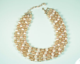 Multi Strand Peachy Pink Necklace