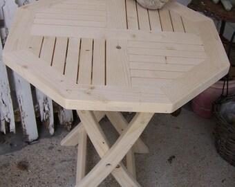 Octagon Hexagon Natural porch patio sunroom yard garden indoor outdoor side table Hand made