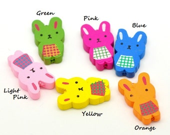 Cute Rabbit /Bunny Wood Beads 28x17mm - Choose your favorite color