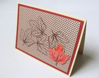 Maple Leaf   Blank Greeting Card/ Hand-stamped, Embossed