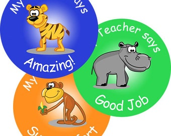 140 Personalised Zoo themed Teacher Reward Stickers