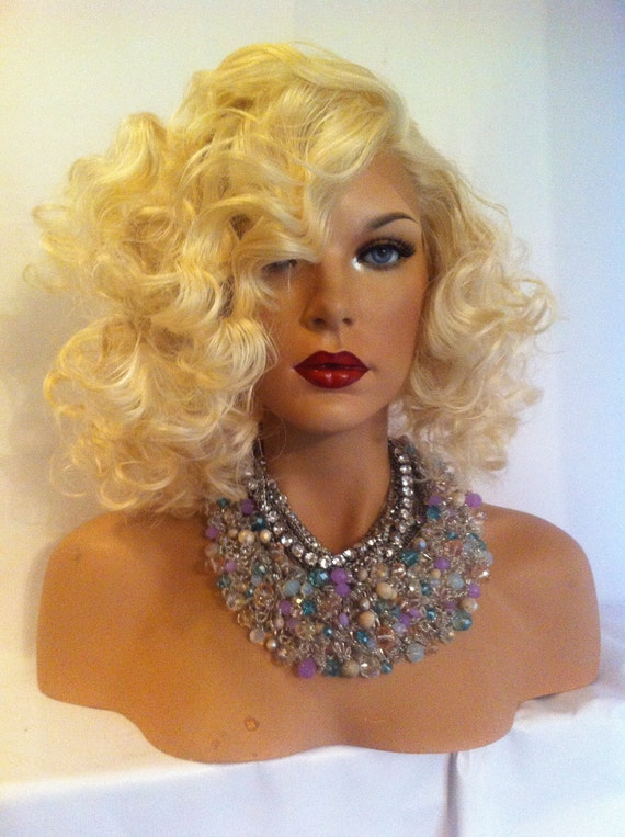 Curly Short Bob Platinum Blonde 613 Lace Wig By