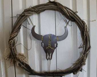 Western Rope and Barbed Wire Wreath.  Western metal cow skull and rope wreath. Rustic raffia, bling, steer head, rodeo rope decor.