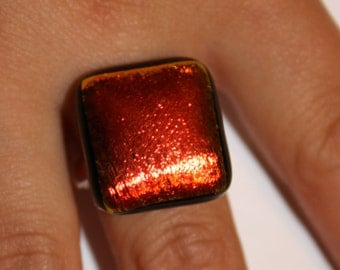 ON SALE - Handmade Dichroic Ring - Fused Glass Jewelry - Glass Ring - Dichroic Glass Ring
