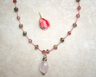 Handknotted rose quartz and czech glass necklace