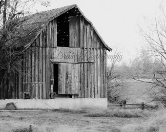 Black and white Rustic barn photo, Photography print.