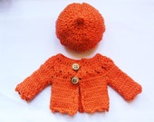 """PDF crochet pattern for 13"""" doll clothes - beret and long sleeved cardigan - fits Les Cheries and H4H dolls + one bonus free pattern"""