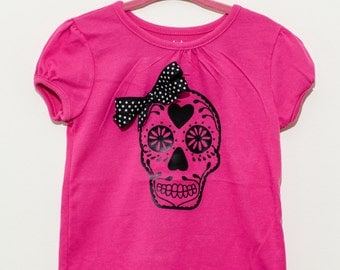 Girls day of the dead, sugar skull, Dia De Los Muertos shirt with hair bow, Hot pink size 2T, 3T, 12M