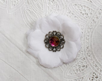 Beautiful White Flower Hair Clip with iridescent jeweled center